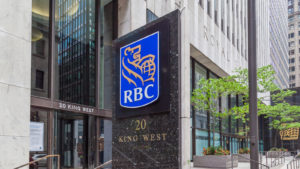 Royal Bank of Canada (RY stock) sign in Toronto's financial district