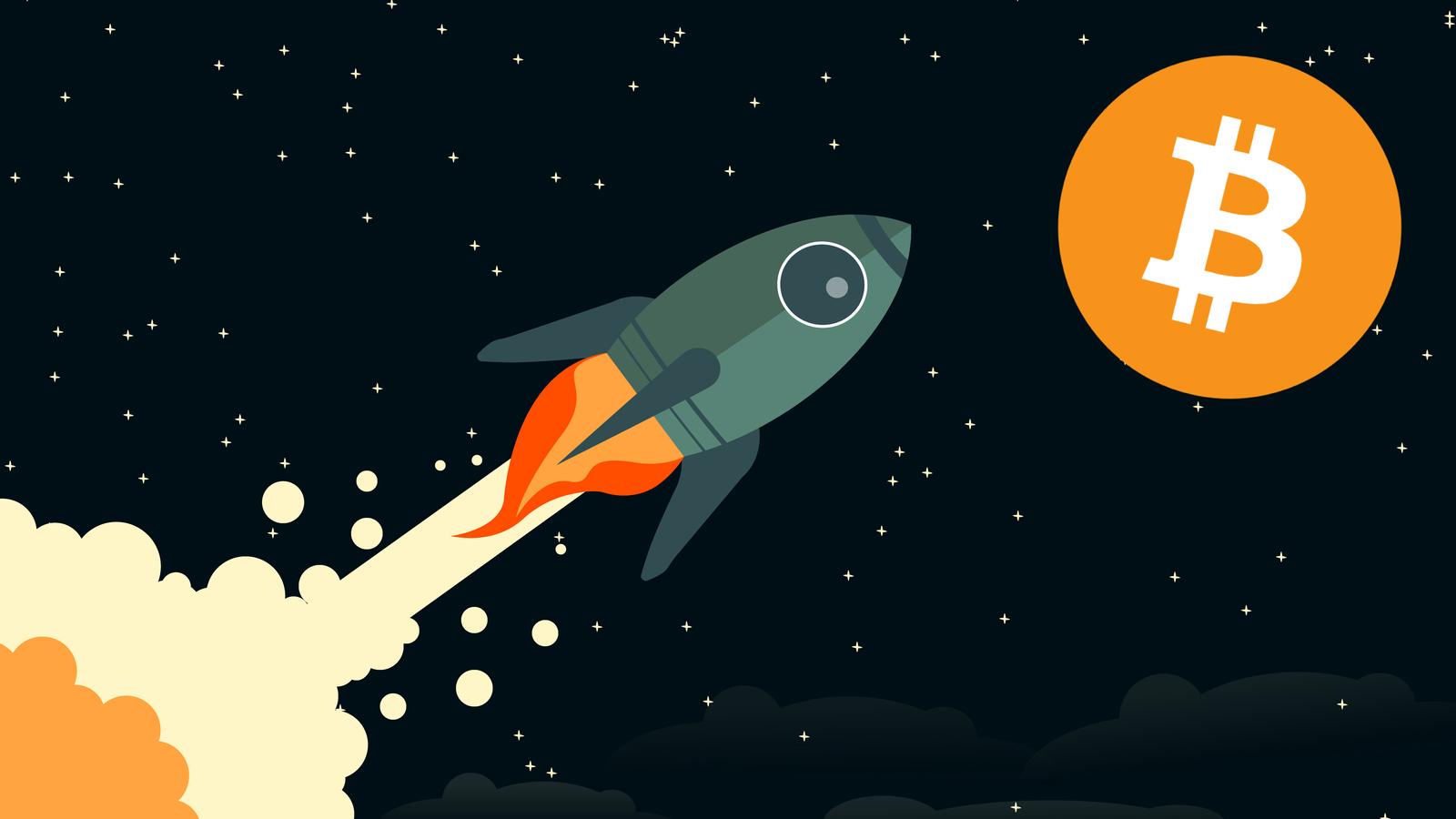Bitcoin to the moon concept art