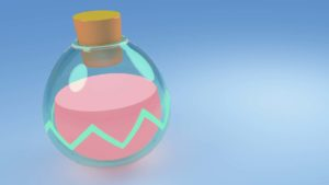 The logo for Smooth Love Potion (SLP) in front of a blue background.