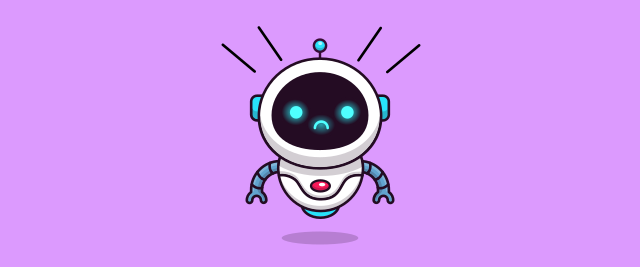 An illustration of a robot with a look of shock on its face