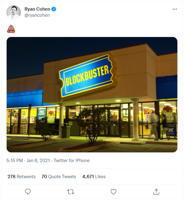 """A screenshot of a tweet by Ryan Cohen with a photo of a Blockbuster and the """"pile of poo"""" emoji."""