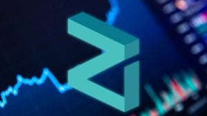 The Zilliqa (ZIL) crypto logo in front of a trading chart illustration.
