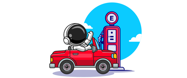An illustration of an astronaut in a red car next to a gas pump.