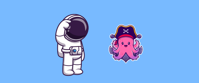 An illustration of a confused-looking astronaut next to a squid in a pirate hat.