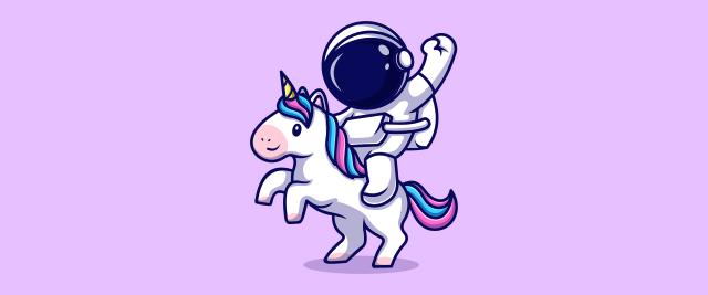 An illustration of an astronaut riding a unicorn.