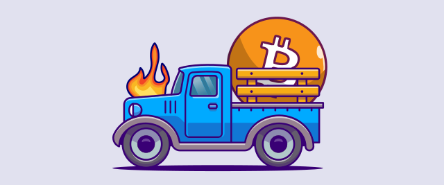 An illustration of a blue pickup truck that's on fire with a large Bitcoin in the bed.