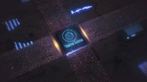 A digital rendering of the Terra (LUNA-USD) crypto on top of a circuit board.