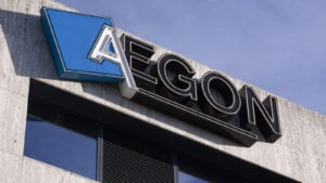 Aegon (AEG stock) logo on its headquarters building in the Hague