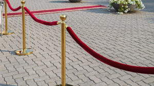 A velvet rope barrier is placed on a paved outdoor surface.
